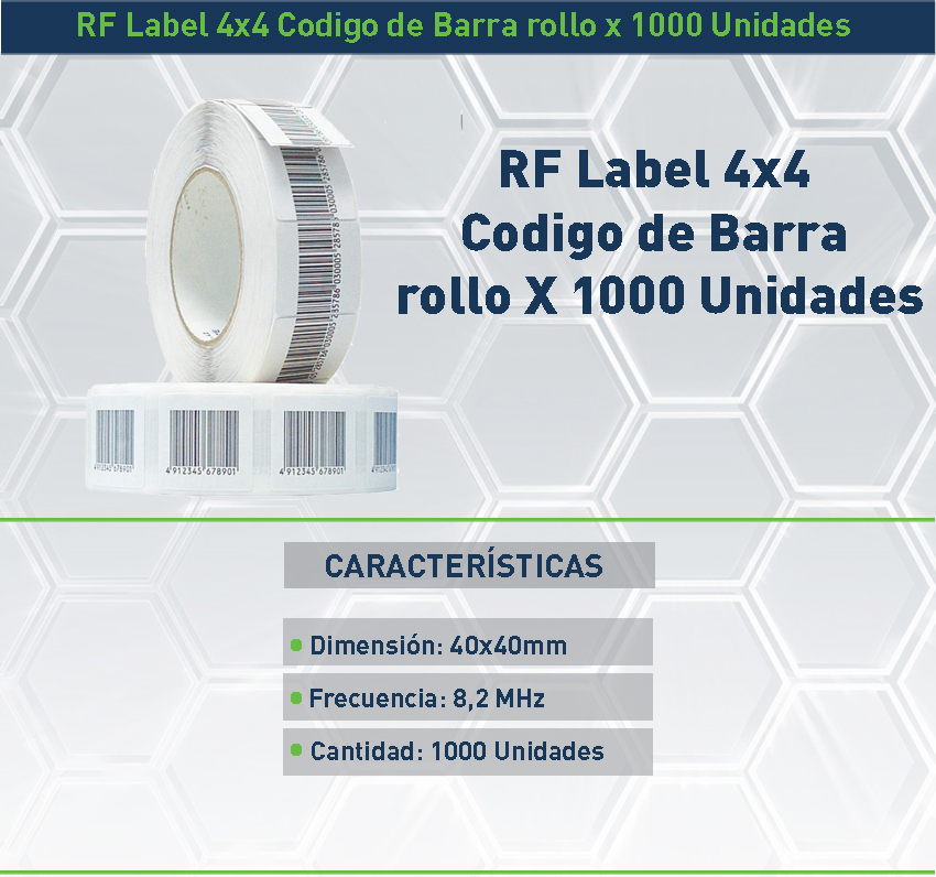 ETIQUETAS BLANCAS RF 4X4 CM antihurto